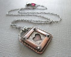 Pendant | Sarah from Armillata Designs.  'Heart Shadowbox'.  Sterling silver and copper.