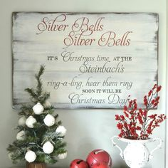 Silver Bells Christmas Sign - Aimee Weaver Designs, LLC Personalized rustic reclaimed barn wood sign with your last name! Makes a great wedding gift! Silver Christmas Decorations, Christmas Wood, Christmas Bells, Christmas Signs, Diy Christmas Ornaments, Christmas Time, Christmas Wreaths, Christmas Ideas, Xmas
