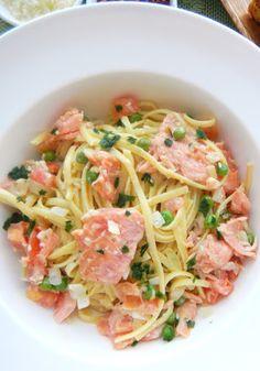 Smoked salmon pasta with a light cream sauce