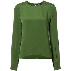 Cushnie Et Ochs round neck blouse (21 575 UAH) ❤ liked on Polyvore featuring tops, blouses, green, green blouse, green silk blouse, green top, round neck top and silk blouse