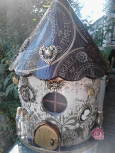 Steampunk+Fairy+House+Large+by+GwyllionsFairyHouses+on+Etsy,+$50.00