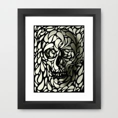 Skull Framed Art Print by Ali Gulec - Scoop Black - Framed Art Prints, Fine Art Prints, Skull Artwork, Green Art, White Art, Original Art, Just For You, Abstract, Artist