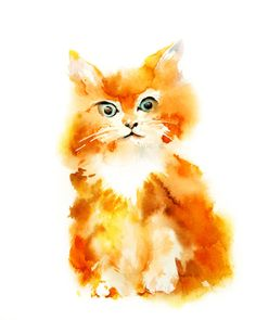 Cat Watercolor Painting Wall Art Print Home by CanotStopPrints