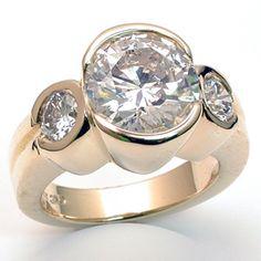 modern three stone ring settings   Modern Three Stone Engagement Ring!