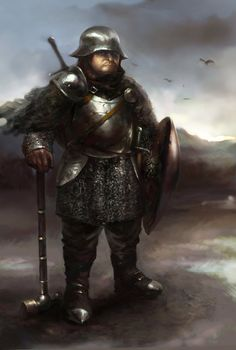 m Dwarf Fighter Plate Helm Shield War Hammer Sword weaponmaster by IgorLevchenko.deviantart.com on @DeviantArt