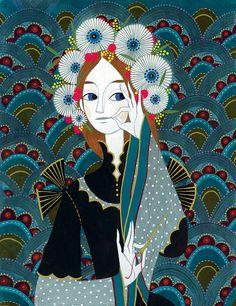 Charlotte Gastaut | Secrets d'étoffes | Illustration Art And Illustration, Illustrations And Posters, Fantasy Paintings, Fantasy Art, Art Magique, Drawn Art, Image Makers, Teaching Art, Beautiful Artwork