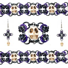 DIY Halloween Jewlery - Chainmaille Kit and Tutorial - Skully X-Files Bracelet & Mini Earrings - Blue Buddha Boutique