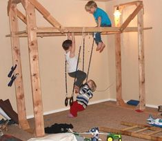 An indoor jungle gym! What a great way to stimulate young children's natural awareness of movement. Kids Indoor Gym, Indoor Jungle Gym, Indoor Playroom, Kids Gym, Basement Gym, Gym Room, Indoor Playground, Kids Furniture, Basement Furniture
