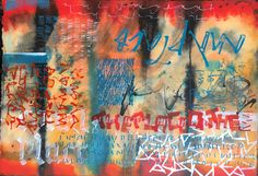 Place Abstract calligraphy Textual Art. Lots of Acrylic ink plus lots of water and overwritten with white gouache #textualart #abstractcalligraphy