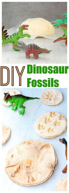 DIY Dinosaur Fossils - Make your own dinosaur fossils with only 3 simple ingredients! #AD #kidscrafts