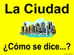89 Spanish City Places - La Ciudad - This PowerPoint contains slides of city images with words that come on mouse click to allow students to guess the correct word. This item works well for initial city vocabulary presentation and is a great review tool throughout the year. A couple slides contain youtube links to places in Spain that correspond to the image on the slide.