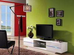 Meuble TV PEGAZE - MDF laqué blanc - LEDs - 4 tiroirs