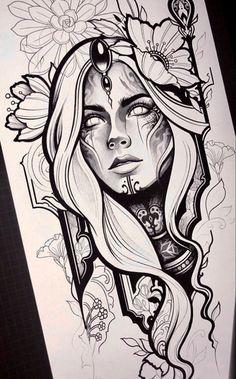 - - - tattoo tattoo ideas for women for women ideas girl body girl design girl drawing girl face girl models ideas for moms for women Dark Art Drawings, Pencil Art Drawings, Art Drawings Sketches, Tattoo Sketches, Tattoo Drawings, Tattoo Girls, Girl Tattoos, Face Tattoos, Sketches Of Girls Faces