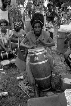 Eddie Massena playing the conga drum during Jamaican Independence Day (1985). | Florida Memory