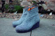 Harris Tweed herringbone, low wedge Jaggy Nettle ankle boots