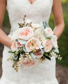 Blush and gray - add succulents, navy berries and twigs for centerpieces. Blush should be an accent color, not main color