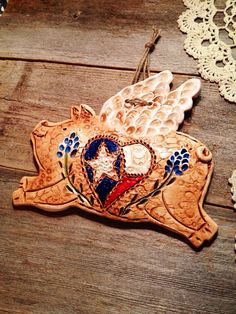 Large Bluebonnet Texas Heart Flying Pig Wall by TexasAngelGifts, $20.00