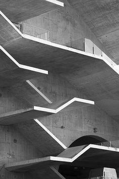 Beautiful black and white photograph of the concrete staircases at Estádio Municipal de Braga, Portugal by famous Portuguese architect Eduar...