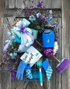 Mothers Day Gift - Mothers Day Wreath - Laundry Room Decor - Wreath For Front Door Clean It Yourself~ Love Mom Tired of your kids not helping out or your hubby doing his own thing? Well send them a message and do it beautifully! This Mother's Day treat yourself with this Totally