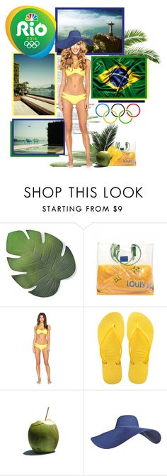 """""""RIO 2016 ❤ GO BRASIL"""" by annynavarro ❤ liked on Polyvore featuring Haze, Frontgate, Louis Vuitton, Mikoh, Havaianas, GOBRASIL, rio2016 and TEAMBRASIL"""