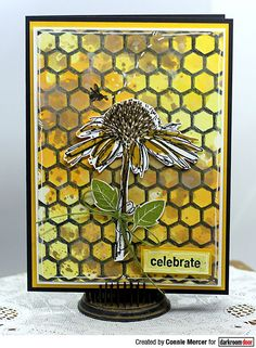 Card by Connie Mercer using Darkroom Door Honeycomb Background Stamp, Carved Flowers and Fine Flowers Stamp Sets Craft Stick Crafts, Paper Crafts, Mini Mason Jars, Bee Art, Distress Oxide Ink, Flower Stamp, Honeycomb, Altered Art, Decorative Boxes