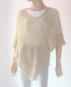 Beige Knitted Crocheted Summer Poncho cotton poncho linen | Etsy