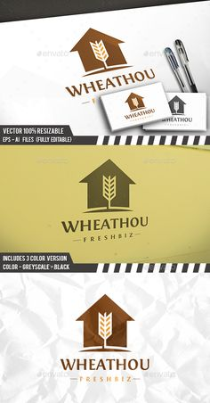 Wheat House Logo by BossTwinsArt Package Professional Design Vector 100 resizable. You can change text and colors very easy using the named and organized layers t Logo Design Template, Logo Templates, Building Logo, Agriculture Logo, Logo Branding, Brand Identity, Farm Logo, Little Designs, Home Logo