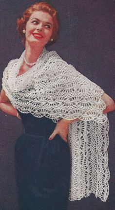 Vintage-Crochet-PATTERN-to-make-Stole-Shawl-Wrap-Hairpin-Lace