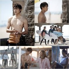 Lee Min Ho takes his shirt off for Malibu Beach surfing scenes in 'Heirs'
