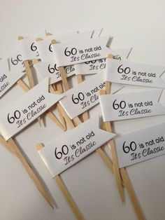60th Cupcake Toppers 50th Food Pick