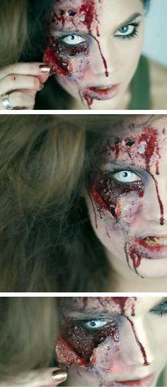 Halloween makeup: Peeled off skin! --- This would be so cool for Halloween! Horror Makeup, Zombie Makeup, Scary Makeup, Makeup Art, Sfx Makeup, Prom Makeup, Makeup Ideas, Face Makeup, Looks Halloween