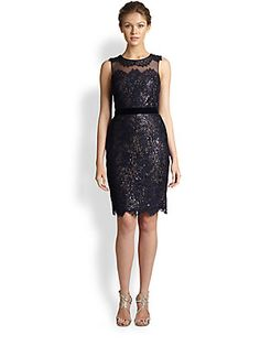 Notte by Marchesa Sequined Underlay Lace Dress