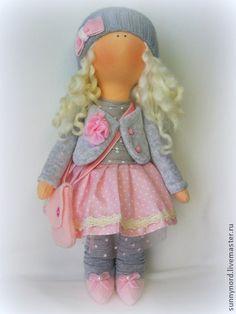 Текстильная кукла Алина. - бледно-розовый,текстильная кукла,ручная работа handmade