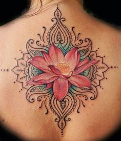 Lotus Flower Tattoo On Back.