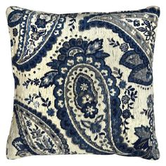Laura Hill for Home Dynamix Paisley Chenille Decorative Pillow Blue - CH801-309