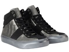 Amazon.com: Jimmy Choo Belgravia High-Top Sneakers Silver (42.5): Shoes