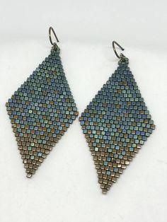 Seed Bead Earrings Matte Metal Blue/Green Gold Dust Diamond