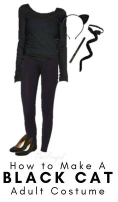 Womens Black Cat Halloween Costume – Using Everyday Clothes This Women's Black Cat Halloween Costume is a super easy Halloween costume and most of us have the shirt, pants, and eyeliner already to go with it. Super Easy Halloween Costumes, Black Cat Halloween Costume, Black Cat Costumes, Couple Halloween Costumes For Adults, Diy Costumes, Adult Halloween, Couple Costumes, Group Costumes, Halloween Stuff