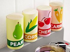 Play Food for a Kids' Kitchen  Stock a kids' play kitchen with fun food you can make in a flash. All you need is a dowel and our free printable labels.