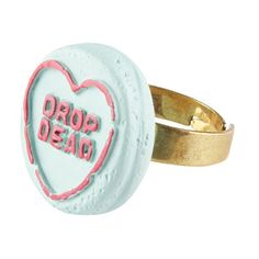 Hate Hearts Ring - Green, Drop Dead Clothing