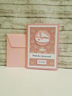 Glückwunschkarten - Taufkarte SCHIFF & FISCH für Mädchen - ein Designerstück von POMMPLA bei DaWanda