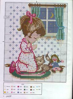 Bordado Passo a Passo: Gráficos ponto cruz: Menino e menina rezando