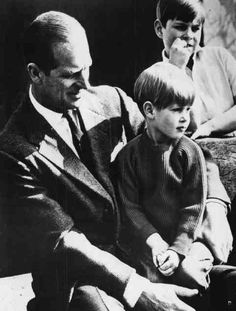 ladymollyparker:  Prince Philip with Prince Edward on his lap and Prince Andrew in the back