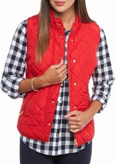 e5f389d10344 Crown Ivy Red Hots Petite Solid Puffer Vest Red Puffer Vest, Red Vest, Puffy
