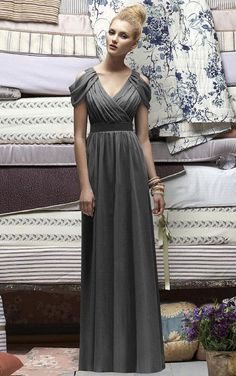 V-neck Floor-length Cap Sleeves Chiffon Zipper Bridesmaid Dresses
