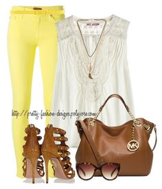 """""""~  Yellow Jeans  ~"""" by pretty-fashion-designs ❤ liked on Polyvore featuring 7 For All Mankind, Calypso St. Barth, Michael Kors, Aquazzura, Forever 21, Cacharel and NLY Accessories"""