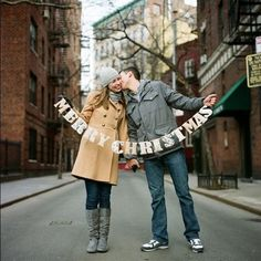 Winter engagement announcement - So cute for save the dates! However, make sure people know it's a save the date and not just a christmas card!