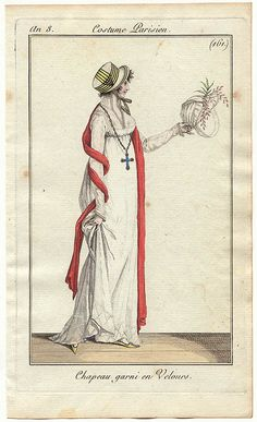Costume parisien 1801.  That is a BIG cross necklace.  Must have been heavy!