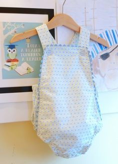 """baby boy sunsuit pattern A bit of baby sewing … I never managed to sew for my kids when they're babies – my first """"official"""" sewing attempt was for Miss M when she was about 11 months. Yet, now I have 2 gorgeous baby neph… Baby Romper Pattern, Baby Girl Dress Patterns, Baby Clothes Patterns, Baby Boy Romper, Sewing Patterns For Kids, Sewing For Kids, Baby Sewing, Baby Patterns, Frock Patterns"""