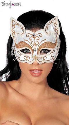 White Glitzy Cat Mask
